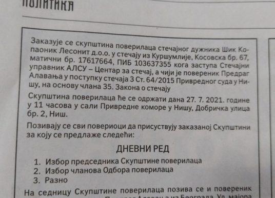Nova prevara – Skupština poverilaca  ŠIK Kopaonika Lesonit održava se u Nišu!!!